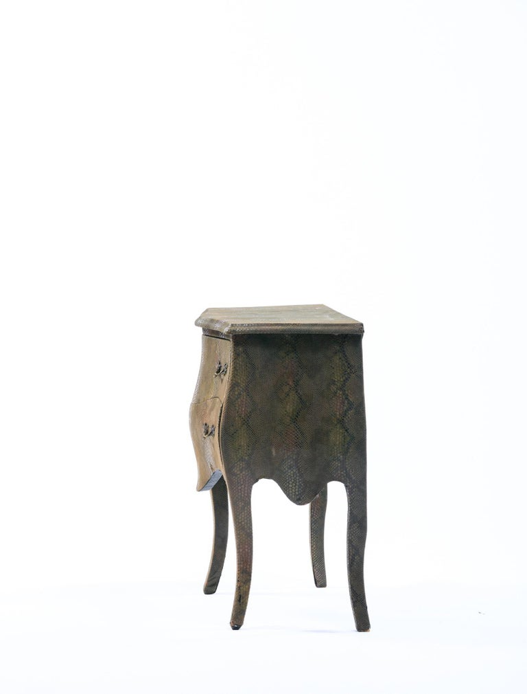 Louis XV Style Bombé Commode Wrapped in Olive Green Faux Snakeskin For Sale 12