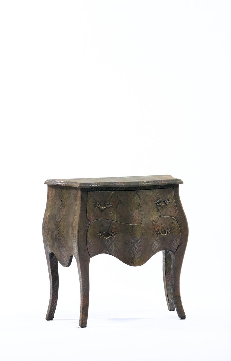 Louis XV Style Bombé Commode Wrapped in Olive Green Faux Snakeskin In Good Condition For Sale In Saint Louis, MO