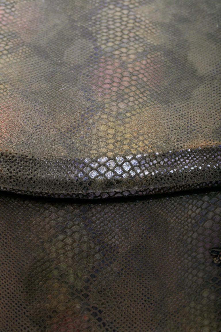Louis XV Style Bombé Commode Wrapped in Olive Green Faux Snakeskin For Sale 3