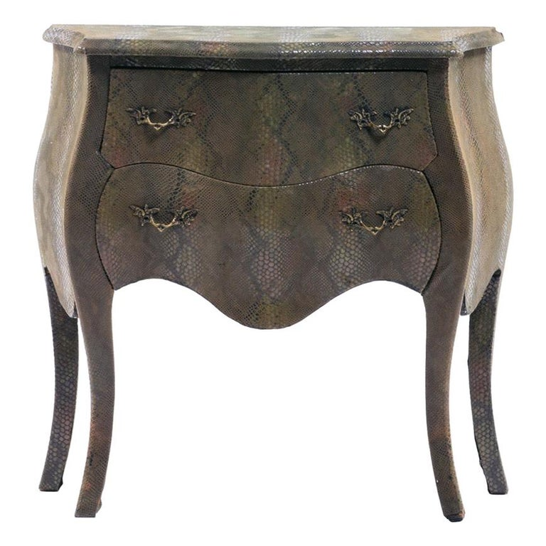 Louis XV Style Bombé Commode Wrapped in Olive Green Faux Snakeskin For Sale
