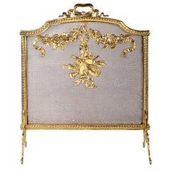 Louis XV Style Brass Fire Screen