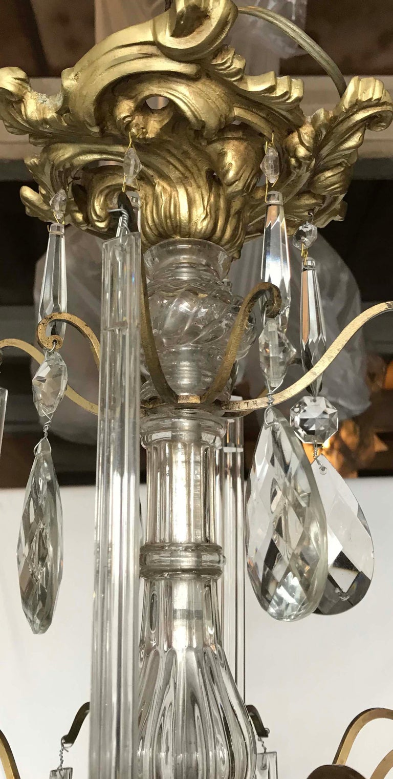 Louis XV Style Bronze and Crystal Chandelier In Fair Condition For Sale In Miami, FL