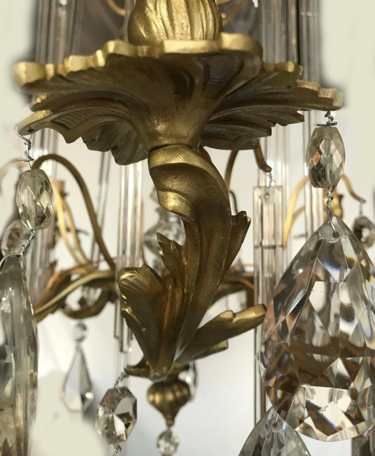 Early 20th Century Louis XV Style Bronze and Crystal Chandelier For Sale