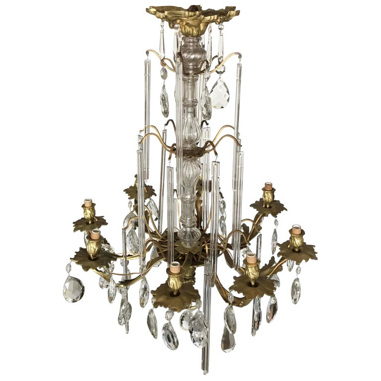 Louis XV Style Bronze and Crystal Chandelier For Sale