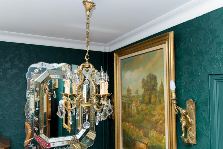 Louis XV Style Bronze and Crystal Four-Light Chandelier For Sale 4