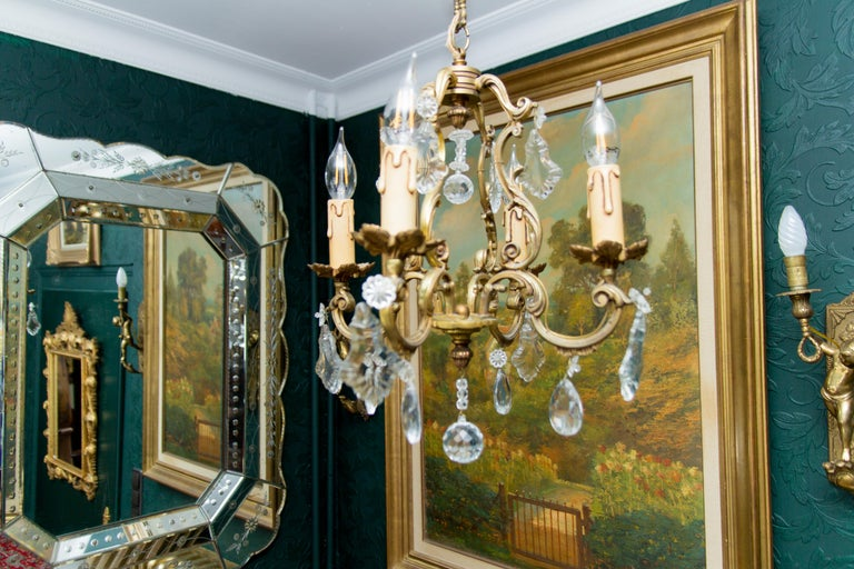 Louis XV Style Bronze and Crystal Four-Light Chandelier For Sale 5