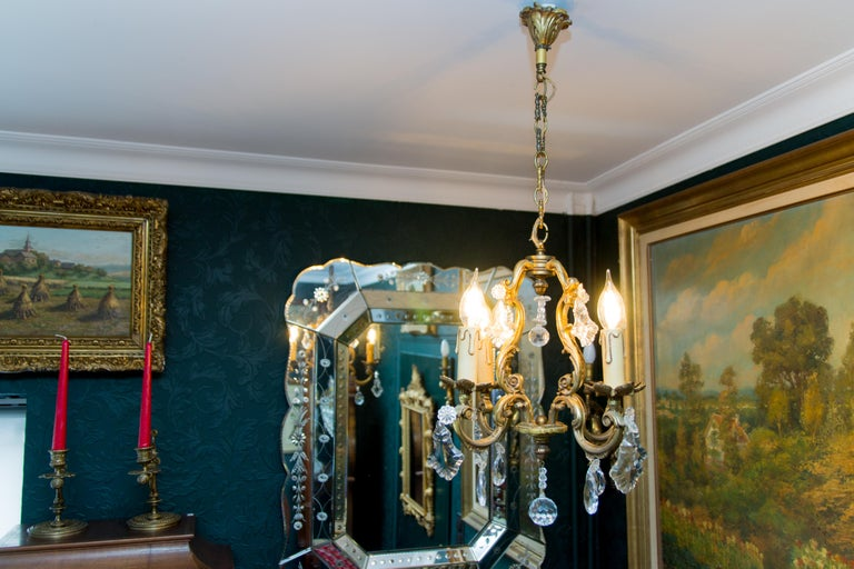 Louis XV Style Bronze and Crystal Four-Light Chandelier For Sale 6