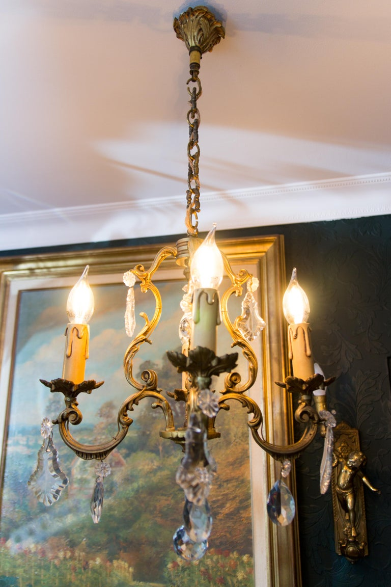 Louis XV Style Bronze and Crystal Four-Light Chandelier For Sale 9
