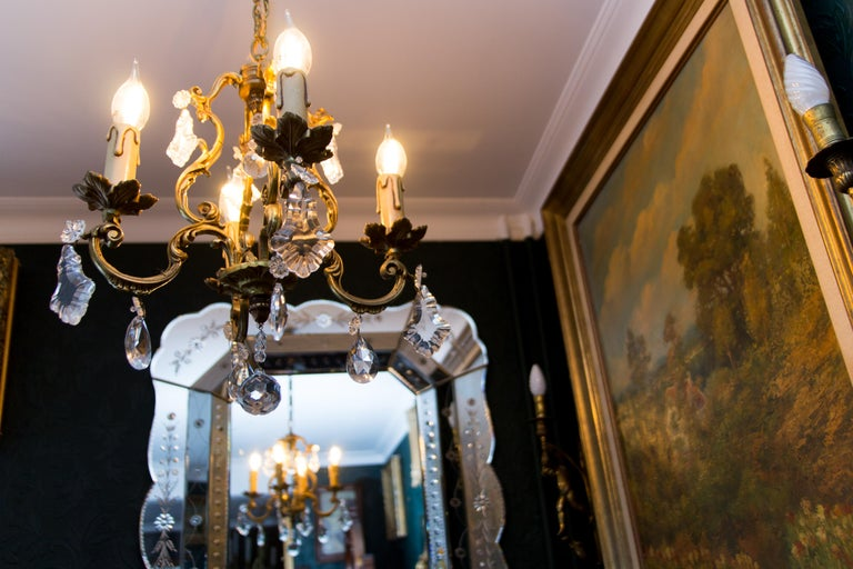 Louis XV Style Bronze and Crystal Four-Light Chandelier For Sale 10