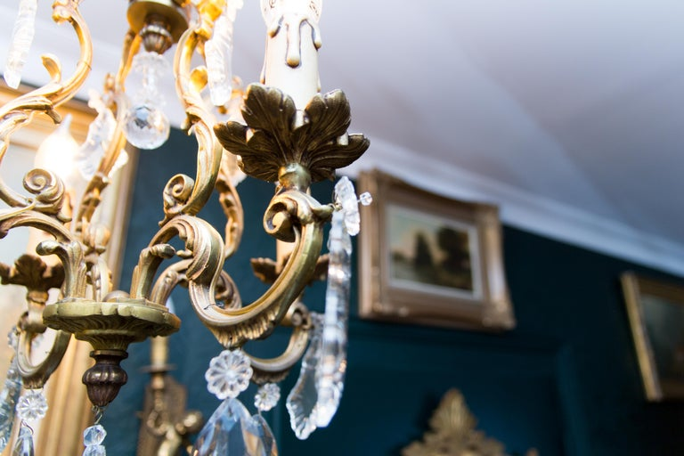 Louis XV Style Bronze and Crystal Four-Light Chandelier For Sale 11