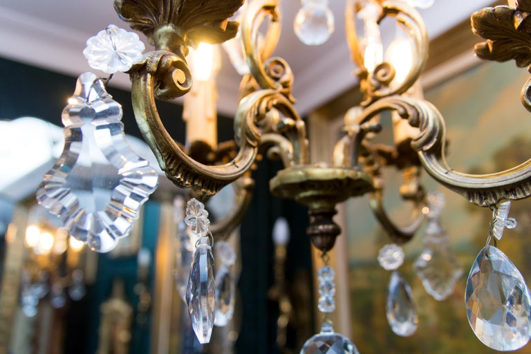 Louis XV Style Bronze and Crystal Four-Light Chandelier For Sale 13