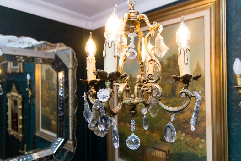 Louis XV Style Bronze and Crystal Four-Light Chandelier For Sale 14