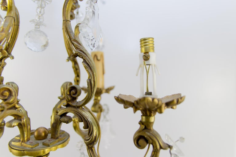 Louis XV Style Bronze and Crystal Four-Light Chandelier In Good Condition For Sale In Barntrup, DE