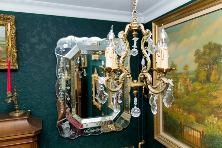 Louis XV Style Bronze and Crystal Four-Light Chandelier For Sale 3