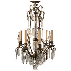 Louis XV Style Bronze and Crystal Six-Light Chandelier