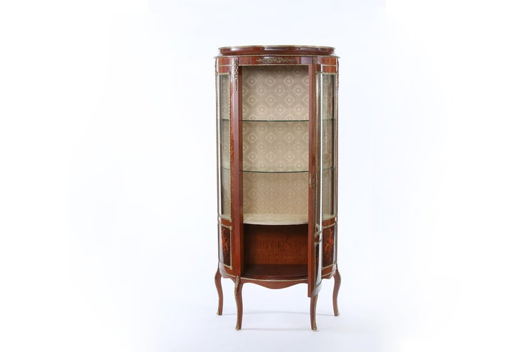 French Louis XV Style Bronze Mounted Display Cabinet For Sale