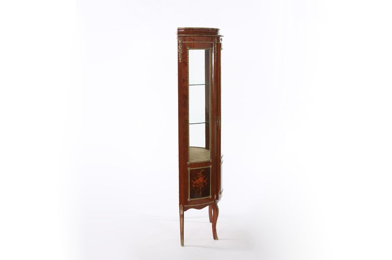 Inlay Louis XV Style Bronze Mounted Display Cabinet For Sale