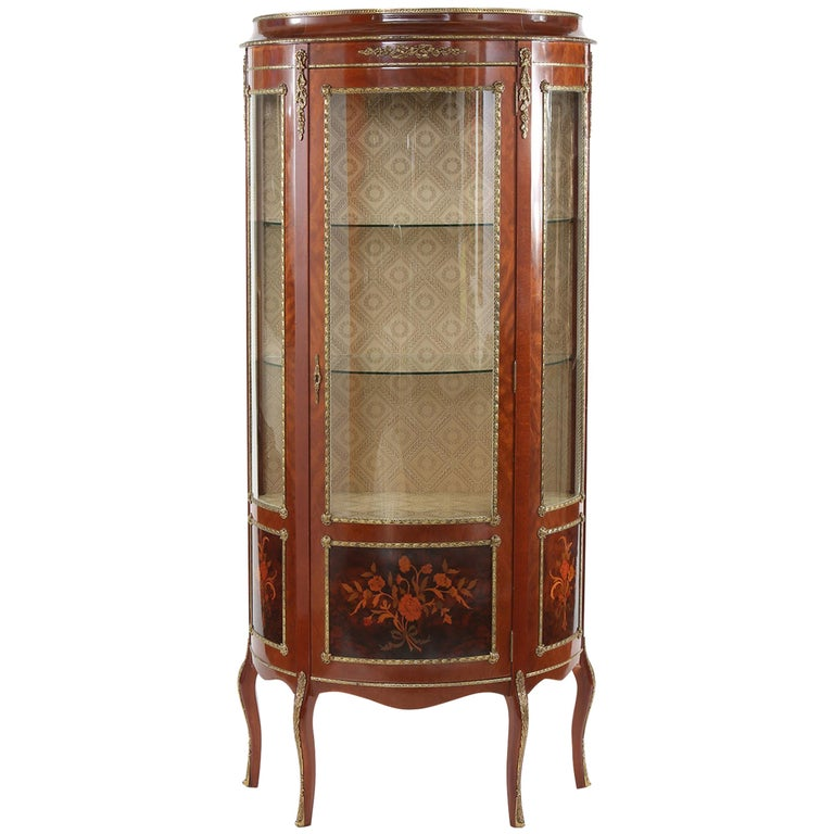 Louis XV Style Bronze Mounted Display Cabinet For Sale