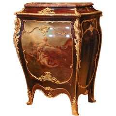 Louis XV Style Cabinet, Painted, Marble top