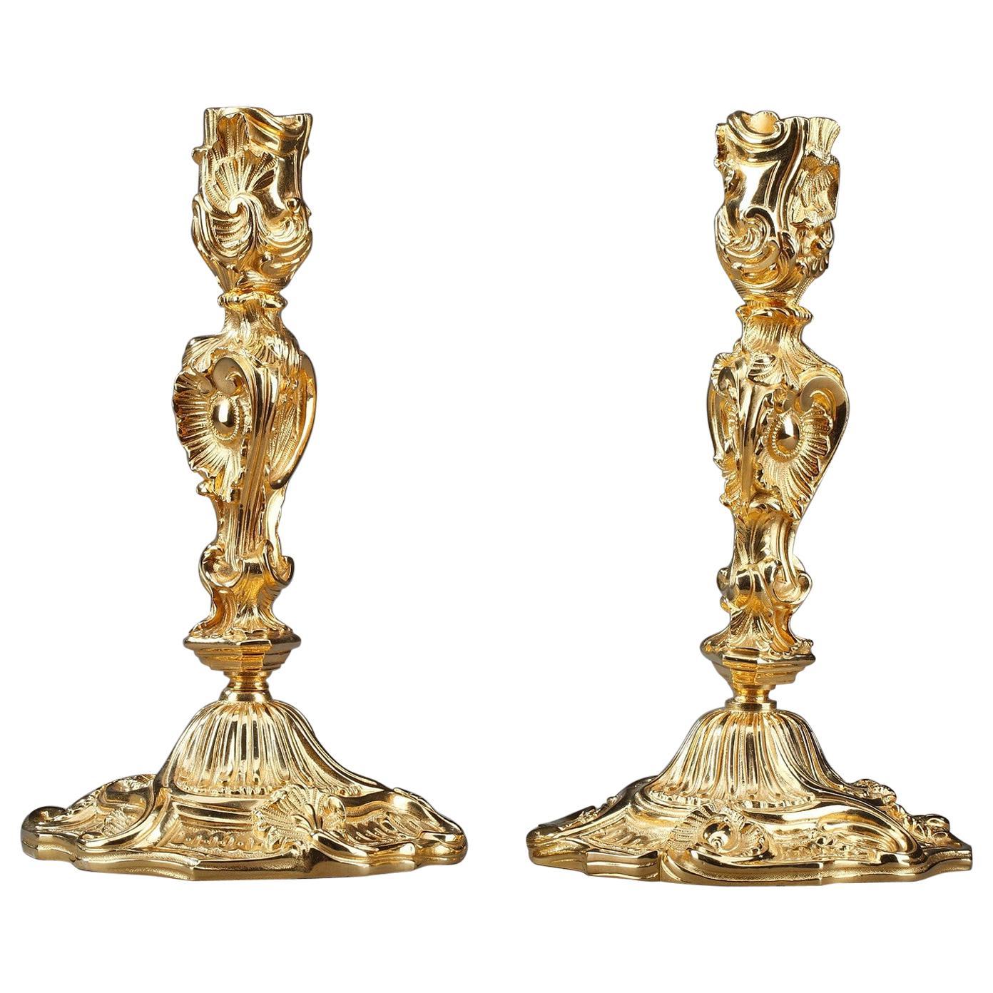 Louis XV Style Candlesticks in Gilt Bronze