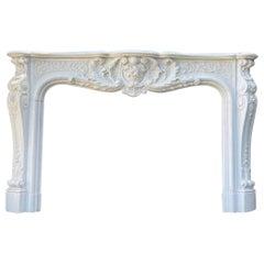 Louis XV Style Carrara Marble Fireplace, Circa 1970