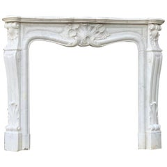 Louis XV Style Carrara White Marble Fireplace