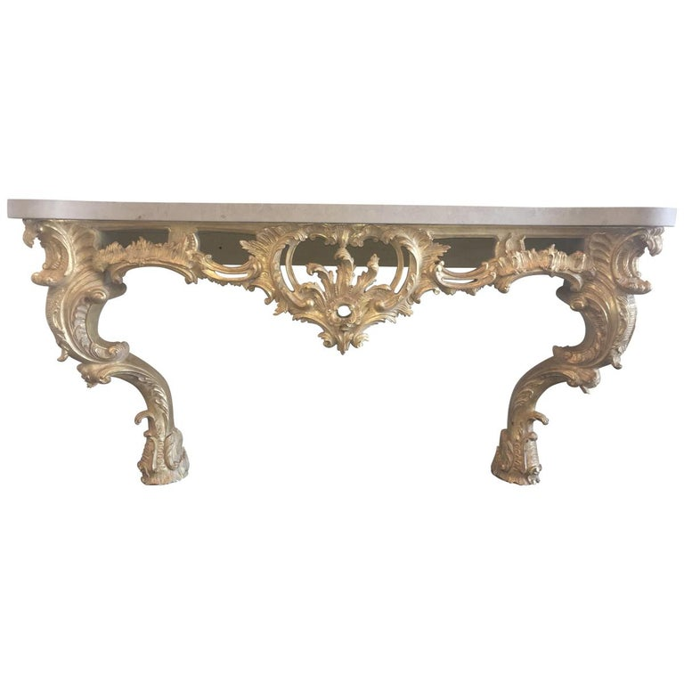 Louis XV Style Carved and Gilded Wood Console Table For Sale
