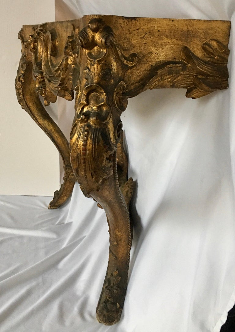 French Louis XV Style Carved Giltwood Wall Mounted Bird Console Table, France For Sale