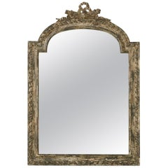 Louis XV Style Carved Wall Mirror with Distressed Finish, France, 19th Century
