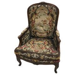Louis XV Style Carved Walnut & Needlework Bergère Chair from Kasteel Van Rumbeke