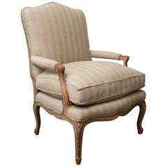 Louis XV Style Carved Wood Armchair with Feather Down Cushioning