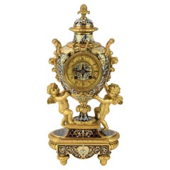 Louis XV Style Champleve Enamel and Gilt Bronze Clock