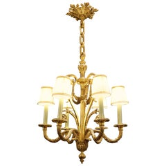 Louis XV Style Chandelier in Gold Gilt Bronze with its Original Shades