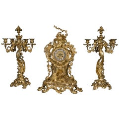 Louis XV Style Clock Garniture Attributed to Henri Picard
