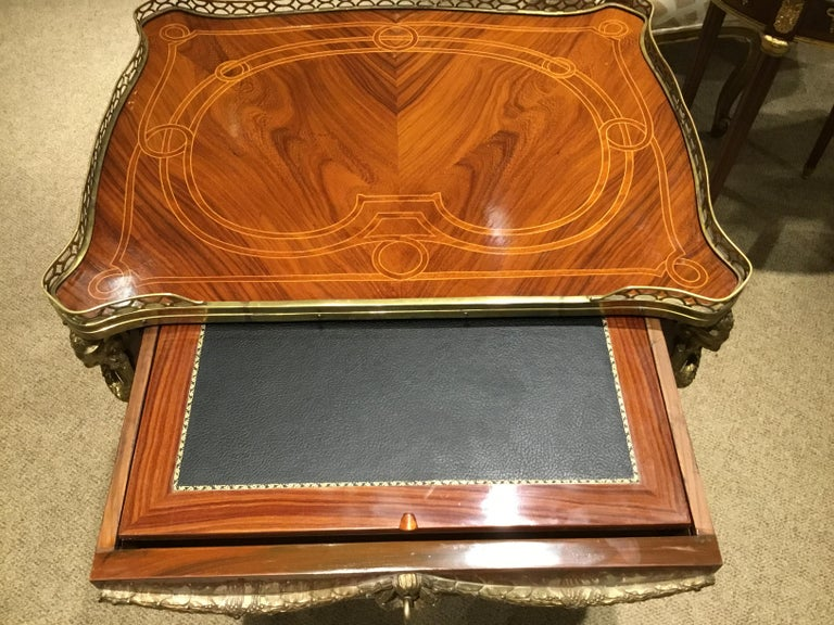 Louis XV Style Commode/ Secretary with Leather Writing Surface, 3 Drawers In Good Condition For Sale In Houston, TX