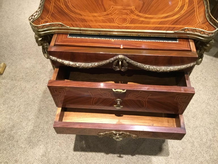 20th Century Louis XV Style Commode/ Secretary with Leather Writing Surface, 3 Drawers For Sale
