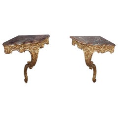 Louis XV Style Corner Consoles, Set of 2