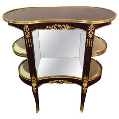 Louis XV Style Crotch Mahogany Vitrine Form End Table or Night Table