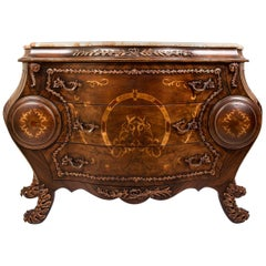 Louis XV Style Curved Commode with Marble Top 'Wide', 20th Century