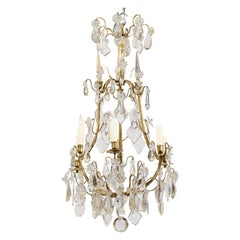 Louis XV Style Cut Crystal and Bronze Chandelier, France, circa 1890