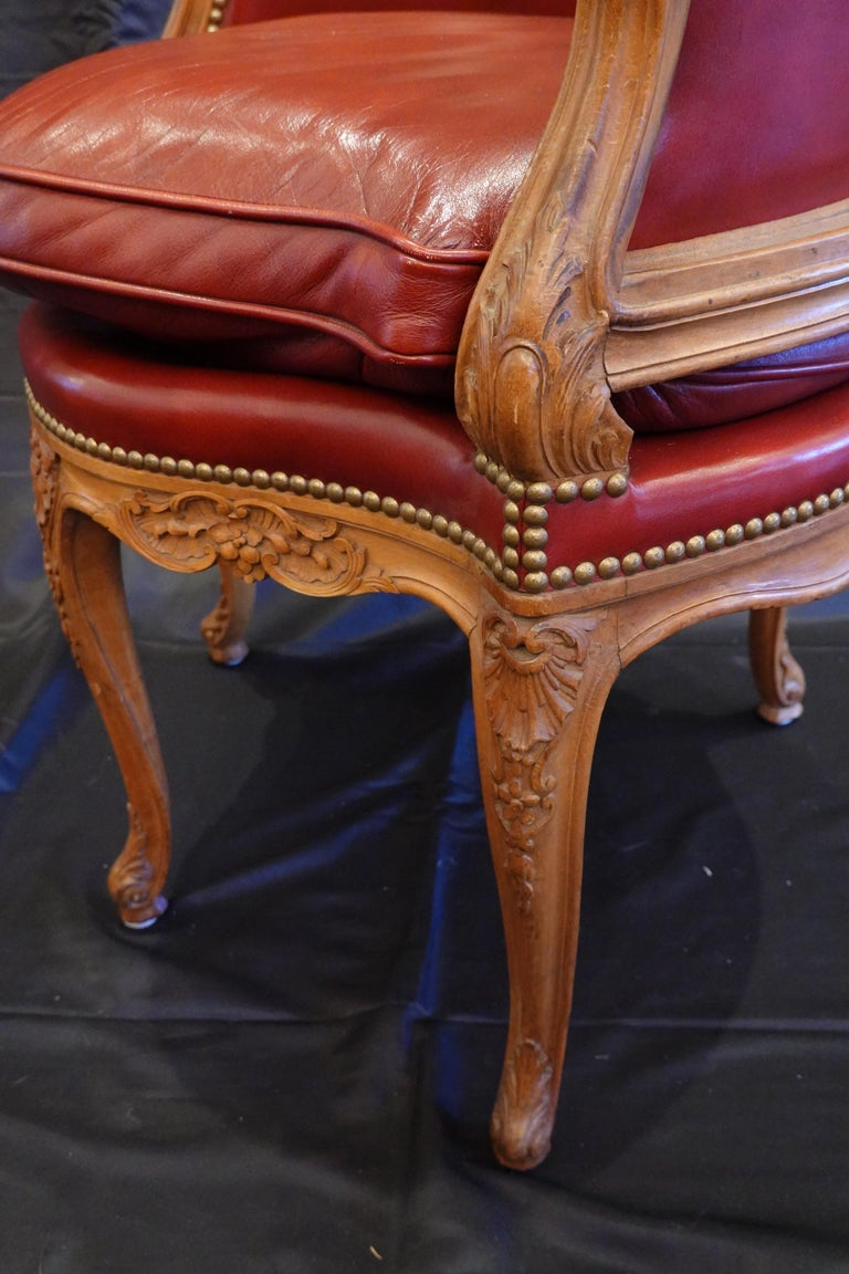 Louis XV Style Desk Chair Upholstered in Red Leather with Nailhead Trim For Sale 4