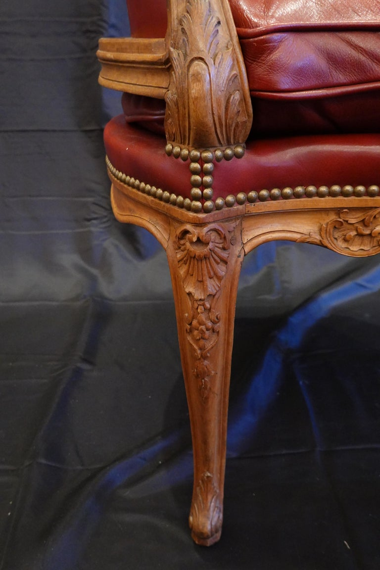 Louis XV Style Desk Chair Upholstered in Red Leather with Nailhead Trim For Sale 5