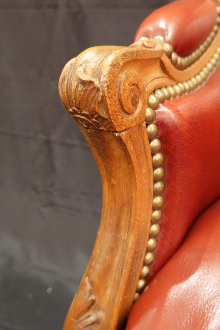 Louis XV Style Desk Chair Upholstered in Red Leather with Nailhead Trim For Sale 7