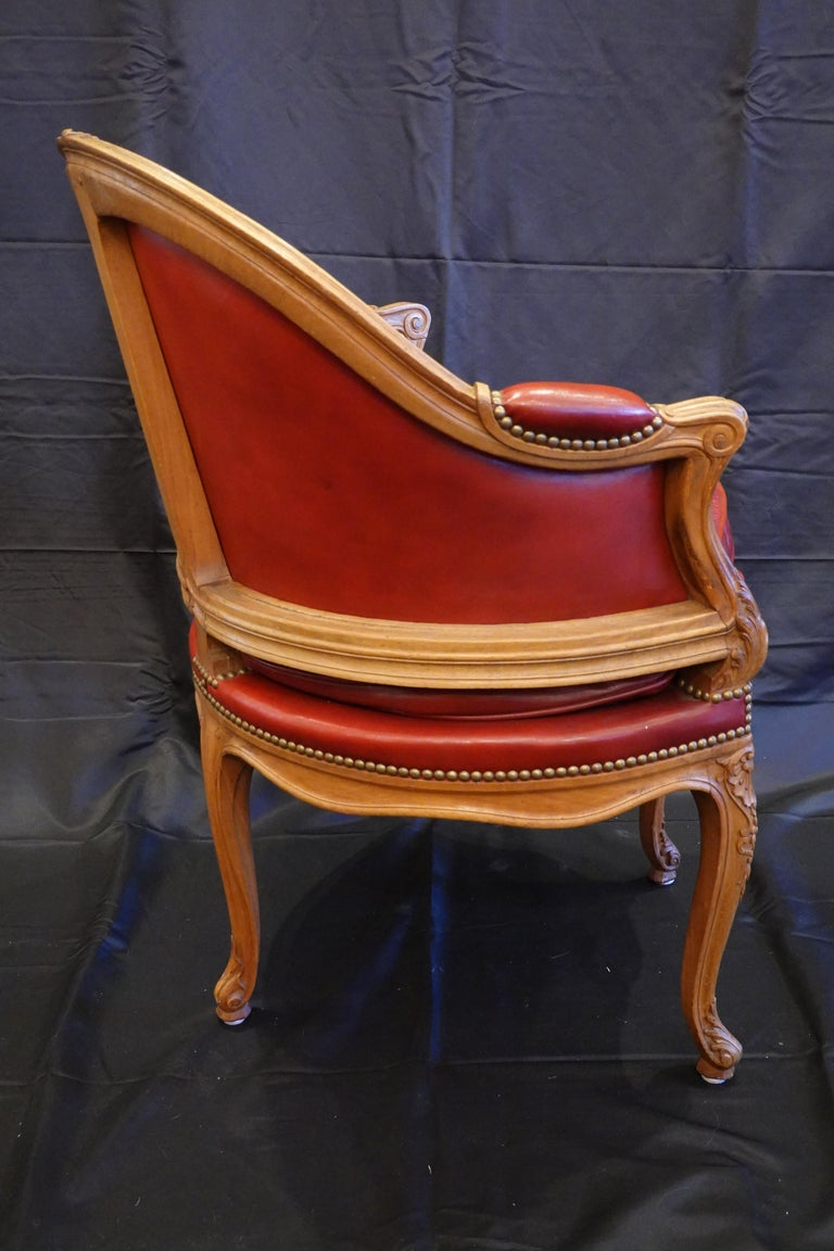 20th Century Louis XV Style Desk Chair Upholstered in Red Leather with Nailhead Trim For Sale