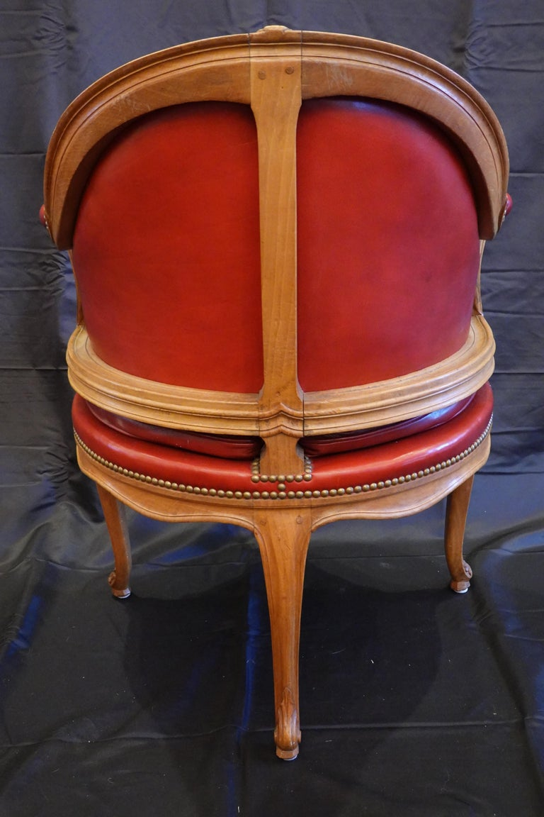 Fruitwood Louis XV Style Desk Chair Upholstered in Red Leather with Nailhead Trim For Sale