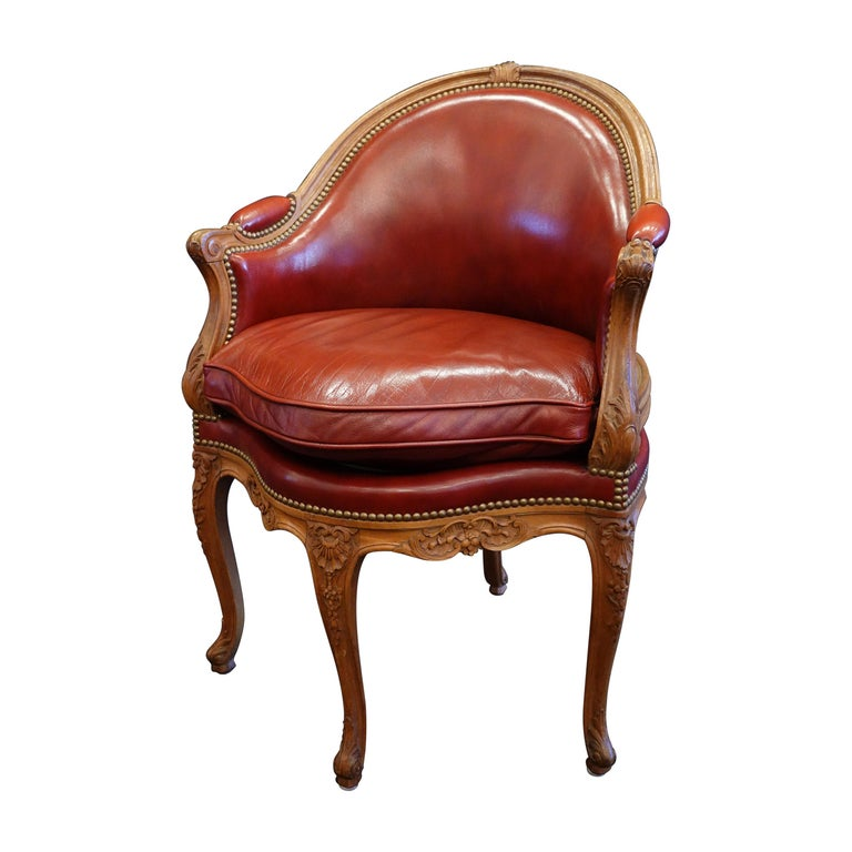 Louis XV Style Desk Chair Upholstered in Red Leather with Nailhead Trim For Sale