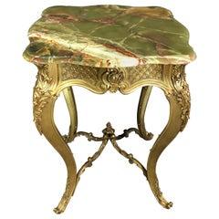 Louis XV Style Doré Bronze and Green Onyx Guéridon Table