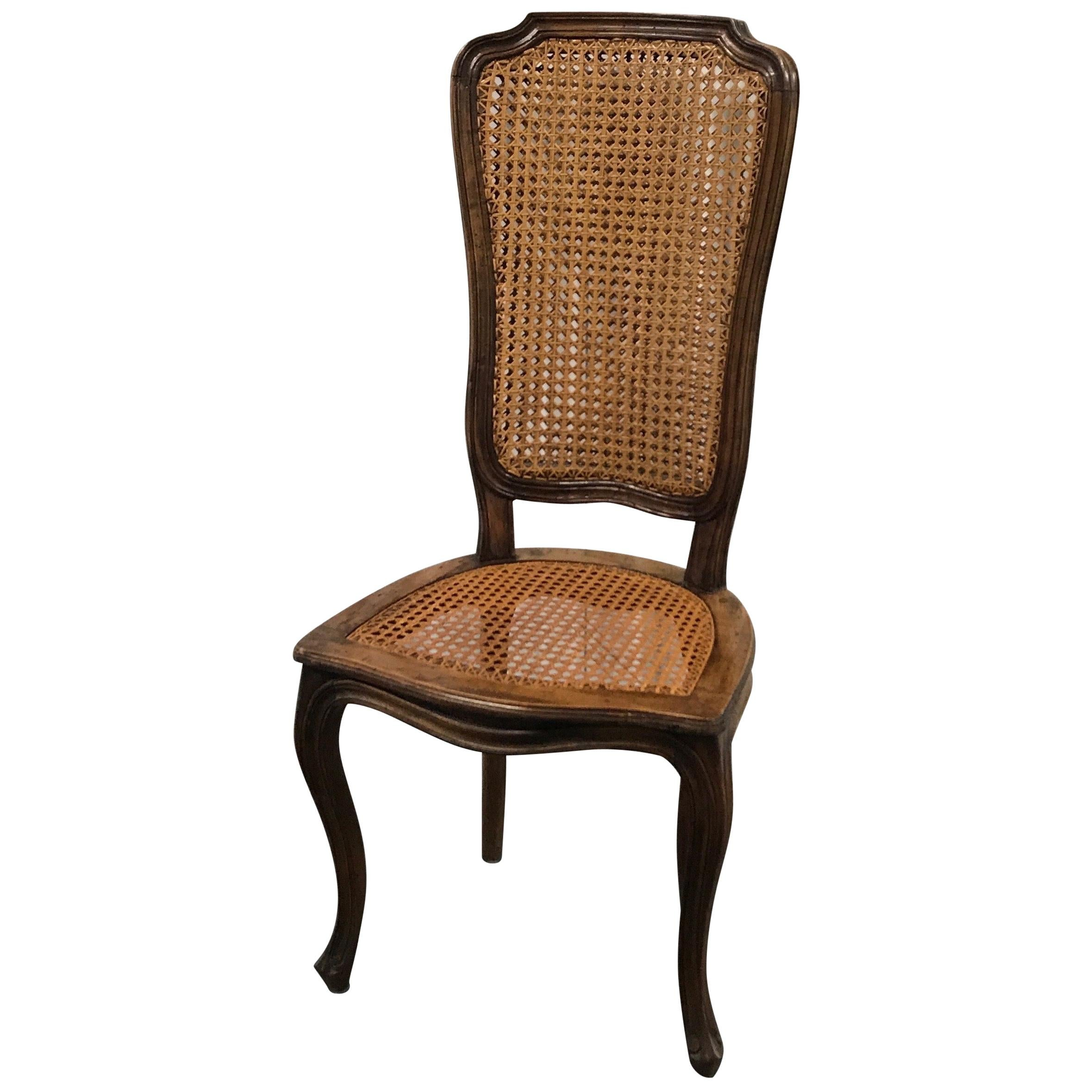 Louis XV Style Double Caned High Back Side Chair