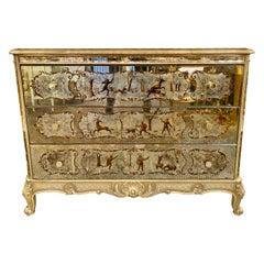 Louis XV Style Eglomise Commode, Maison Jansen Style Chest, Dresser, Nightstand