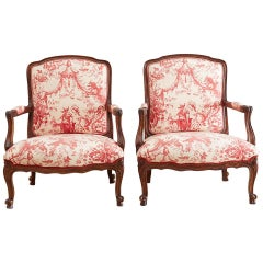Louis XV Style Fauteuil Armchairs with Scalamandre Chinoiserie Toile
